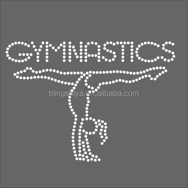 Clear Gymnastics Hotfix Rhinestone Transfers Design For Team Shirts