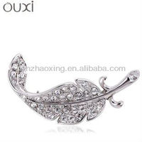Feather shape brooch wholesale with Austria crystal