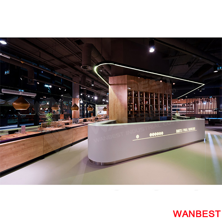 Customized White Solid Surface Restaurant Kitchen Buffet Bar Counter Top and Wood Wine Cabinets