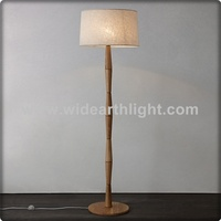 UL CUL Listed Fabric Shade Hotel Natural Wood Floor Lamp In Wood Color Finish For Bedroom F30106