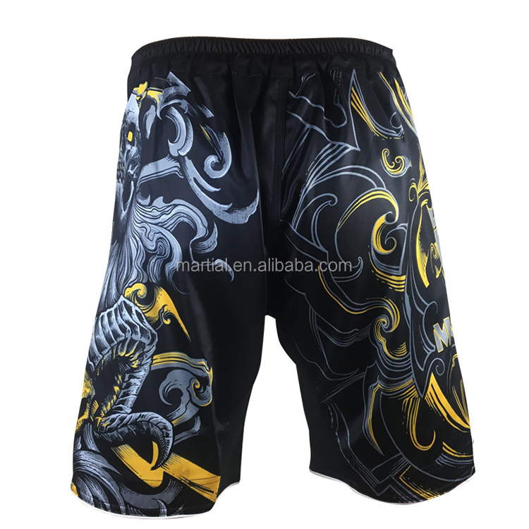 Wholesale 100 Polyester Black Yellow Mix Martial MMA Shorts