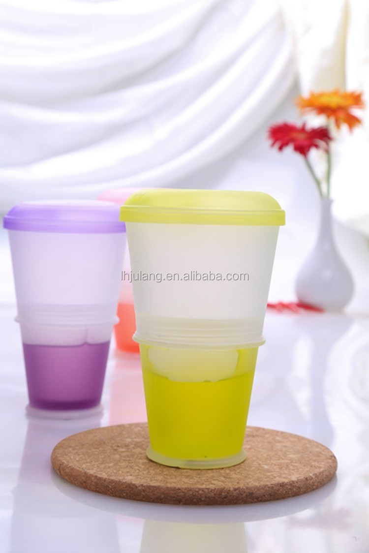 Best sell plastic cereal to go with lid/plastic breakfast cup with spoon&ice pack