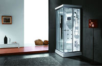White Steam massage computer shower room U681 in Gold Aluminium with grey glass