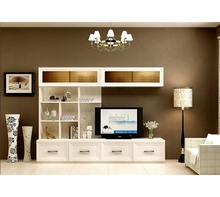 White Living Room Furniture Modern Design Wooden MDF Lcd Tv Cabinet With Showcase