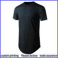 Cotton screen printing export quality rounded hem scoop bottom t shirt price china