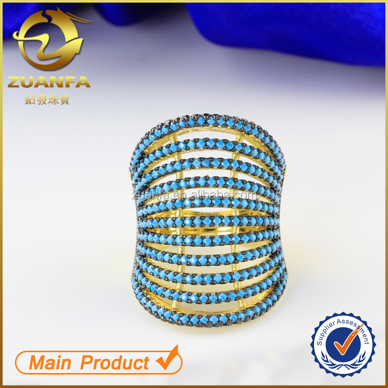 925 Sterling silver yellow gold plated micro pave turkish zircon ring women