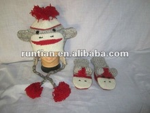 Most Popular Knitting Sock Monkey Animal hat and Mitten Set