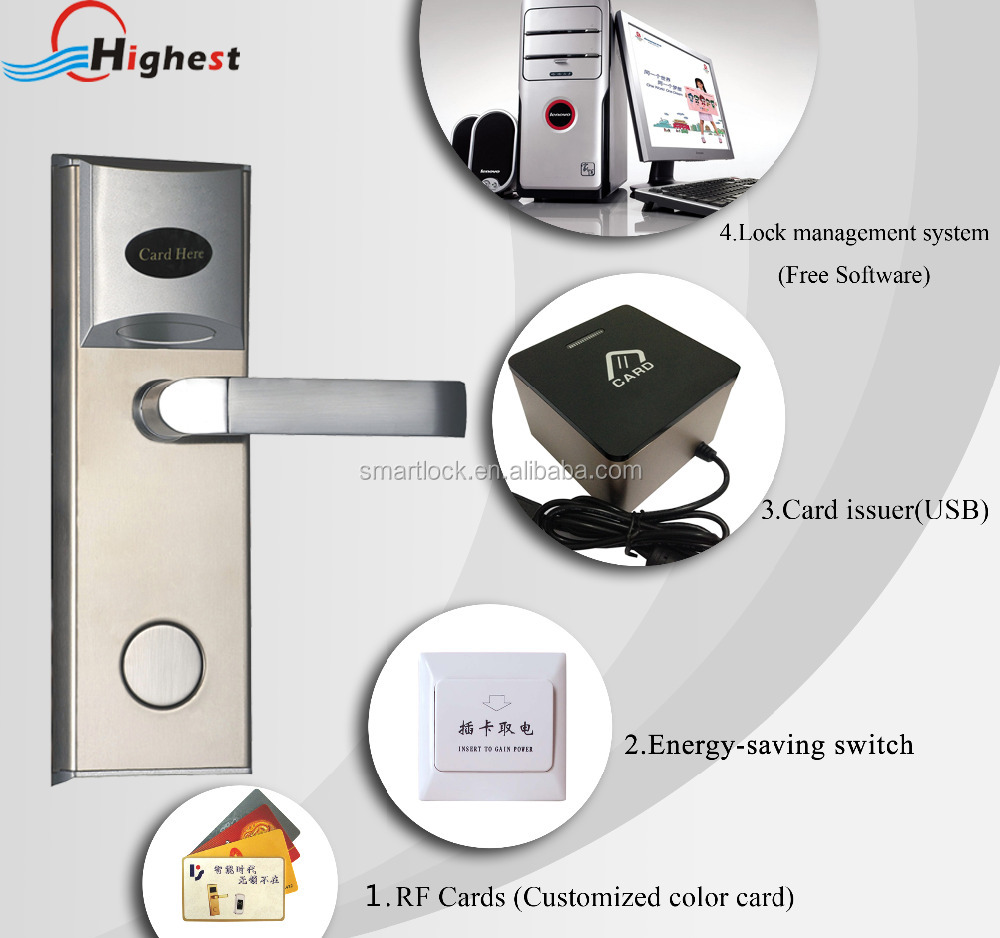 New design smart RFID card electronic digital hotel credit card door lock with encode software program