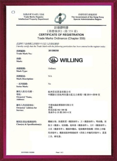 Trade Marks Certificate