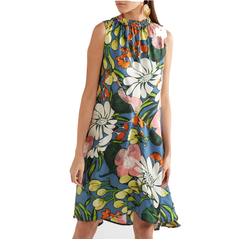 High quality printed silk floral casual dresses women summer