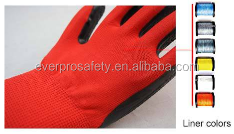 13G Red Nylon Polyester Knitting Working Gloves Black Latex Crinkle Palm Coated Gloves