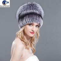 Luxurious top quality real knitted rex rabbit fur winter beanie hat with silver fox fur on top
