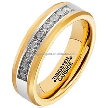 18K Gold Plating Ring for Men Exquisite Cubic Zirconia Inlay Tungsten Carbide CZ Wedding Band Jewelry Women