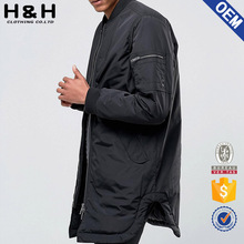 Mens plain bomber jacket with sleeve zip
