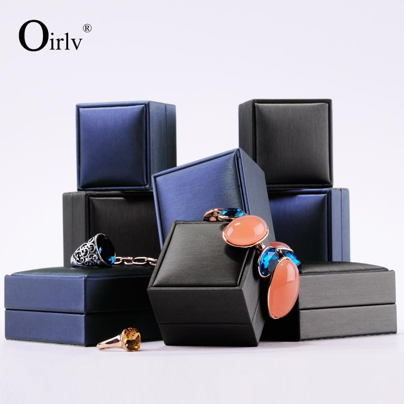 Wholesale Factory Fashion Exquisite Plastic jewellery Packing with PU and Velvet Insert for Pendant Ring Leather Jewelry Box