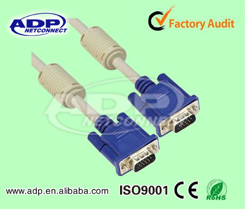 Shenzhen factory VGA Cable Male to Male with Two Ferrite Cores