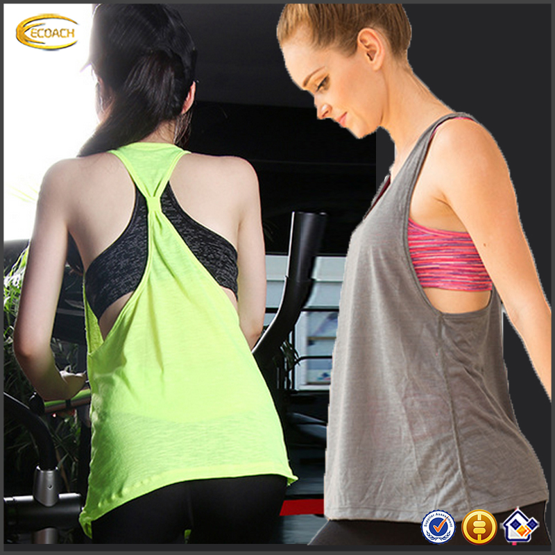 Ecoach Wholesale OEM Women Dri Fit Hollow Back sleeveless Top 2016 casual bodybuilding yoga tank top with bra for running wear
