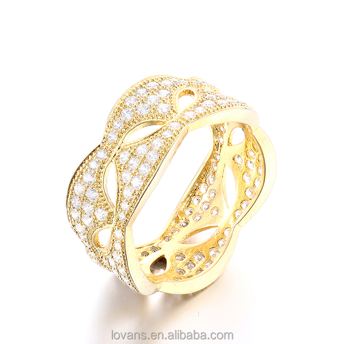 gold ring with cz paved setting jewelry making gold jewellery factory