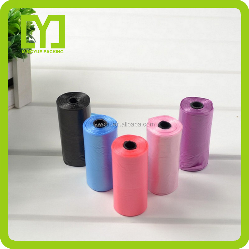 YIwu Multi-color biodegradable custom printed dog poop bag on roll with logo