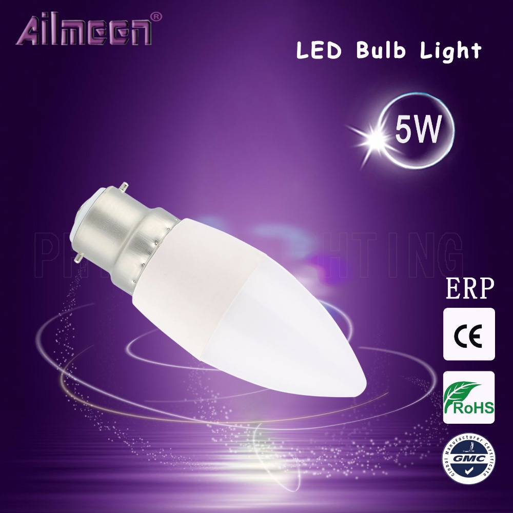 Candle LED Bulb Parts With Plastic Aluminium Housing and PC Cover AC100-240V