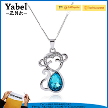 Newest Alloy Crystal Animal Necklace Cute Monkey Shape Necklaces