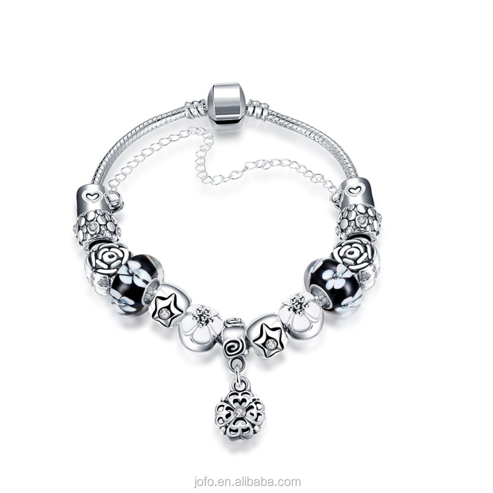 2016 New Fashion Murano Charms Silver Plated Bracelet For Women Snake Chain Bracelet with Pendant