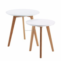 scandinavian small round solid wood white oak end table 2 set with white MDF top