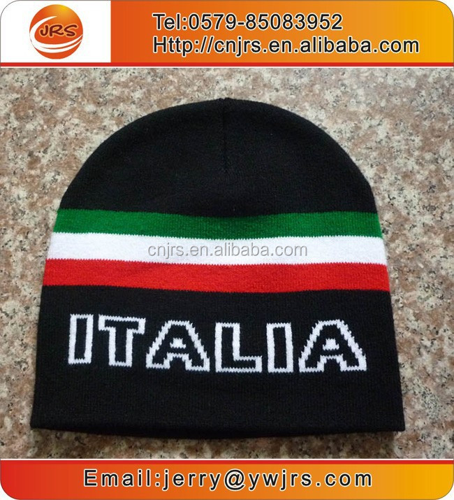 High quality knitted Italy beanie,country acrylic sport team beanie