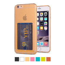 TPU Silicone Gel Transparent Back Case Cover with Sliding Notes Card Slot for Apple iPhone 5 5S 6 6s 7 PLUS