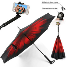 Car Inverted Umbrella with Bluetooth Remote Shutter and Phone Holder , Selfie Stick Reverse Umbrella