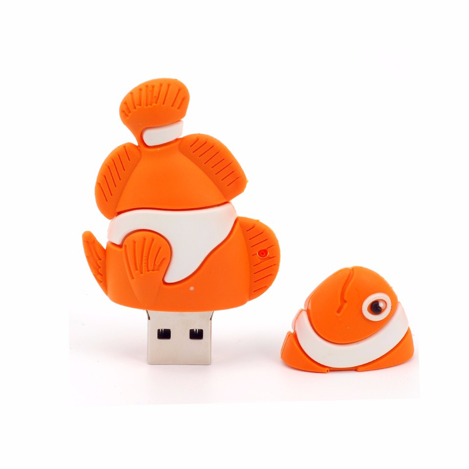 new orange fish usb flash disk 16GB case factory price for distributor