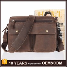 2017 High Quality Vintage Crazy Horse Leather Hand Bags for Fashion Men