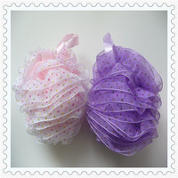 hot sell colorful high quality latern shower puff balls mesh sponge