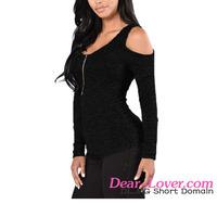 Dear-lover Black Cold Shoulder Zip Front women's blouses