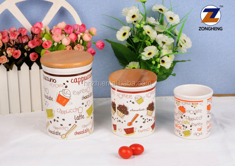 customer decal design tea or coffer canister ceramic jar with wooden lid for for promotional or gift