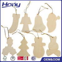 Unfinished Natural Home Wall Hanging Crafts Ornaments Wooden Christmas Decoration
