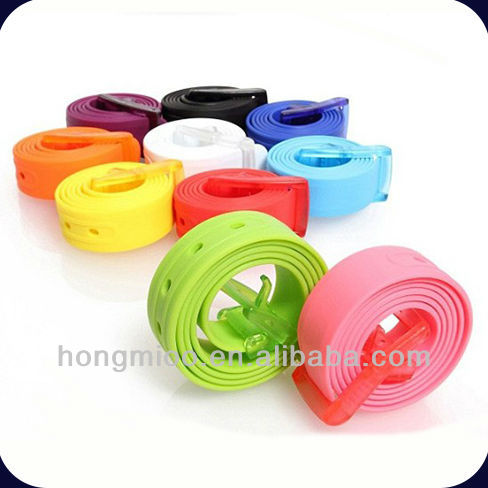 2014 Fashion Silicone Rubber Jelly Vinyl Plastic Suit Casual Buckle Adjustable Belts 15colors