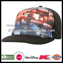 Sublimation print flat brim custom mesh snapback hats