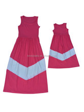 latest design solid color cotton women;s dress , Mother and daughter clothes apparel , maxi dress