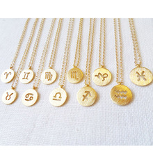 YN0080 New 925 silver Horoscope Pendant Gold Necklace personalized 12 Zodiac Necklace