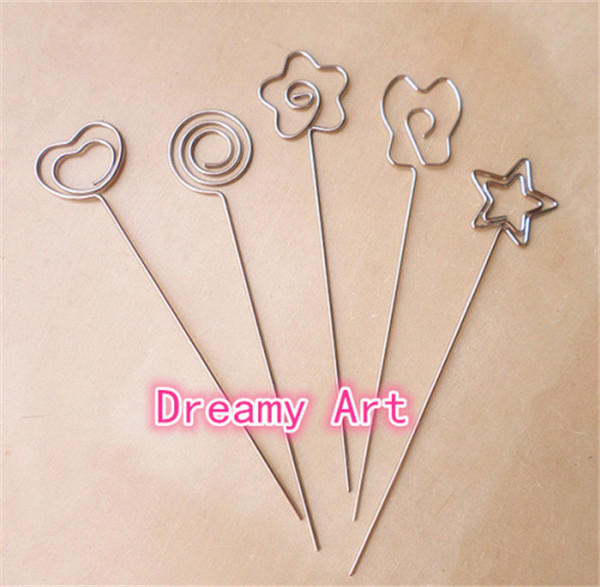 Silver New Heart Shape Metal Wire DIY Craft Clip Photo Picture Memo Card Holders Clips Clay&Cake Clamp Accessories