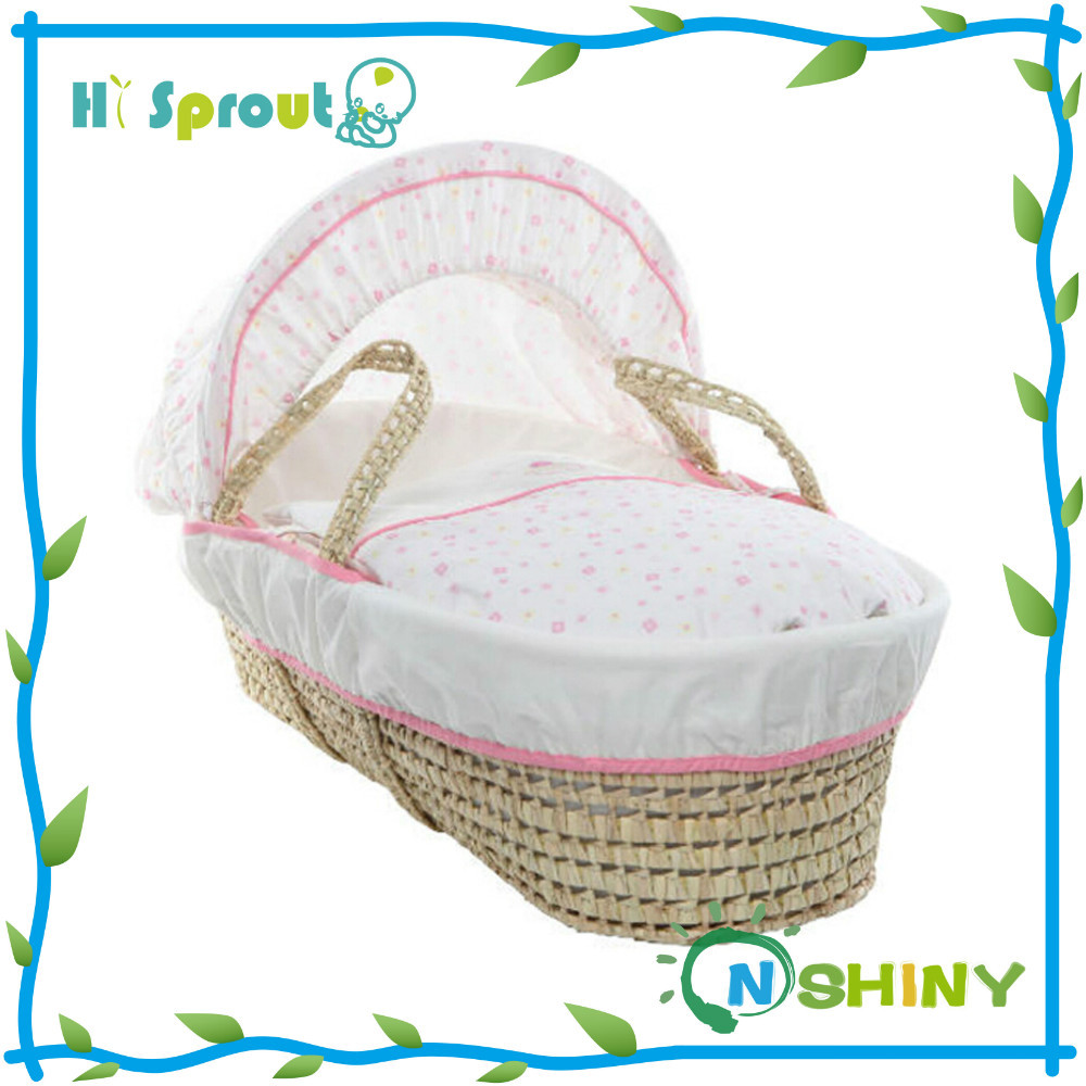 Natural Wicker Moses Baby Bassinet Bed Baby Sleeping Basket Wicker Moses Basket
