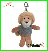 Nice design cute stuffed keychain toy lovely plush animal keychain with clothes