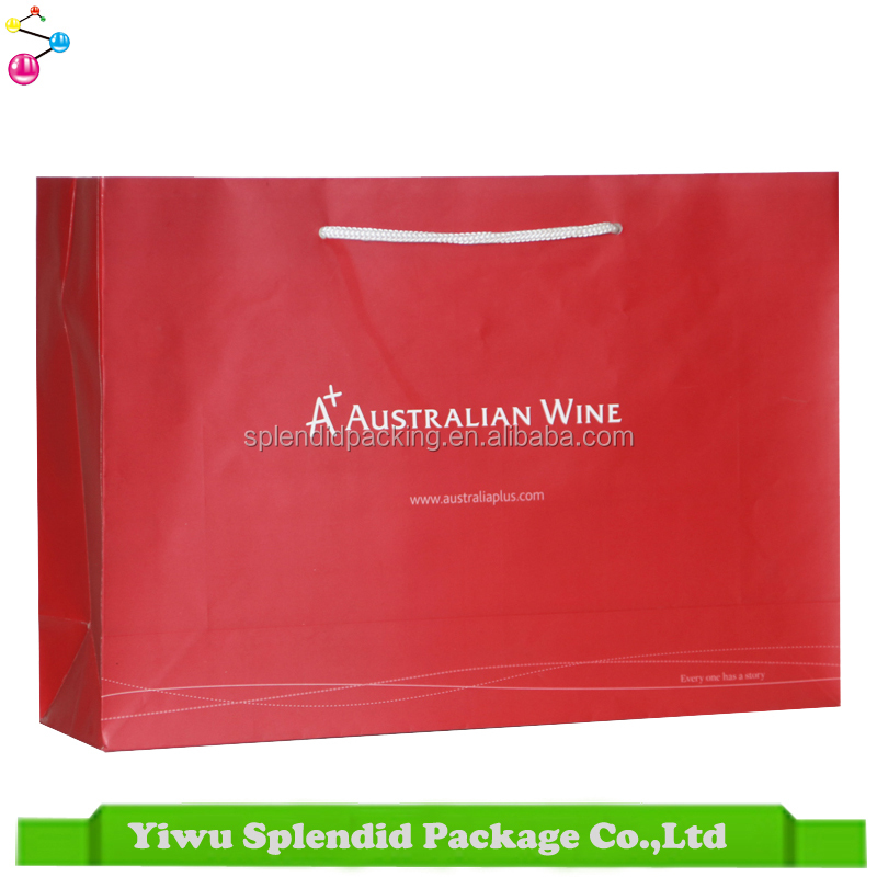Red 157gsm Material Art Wine Paper Bag with Logo Print