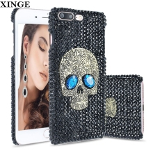 Luxury Diamond Bling Phone Case Black Pattern Hard Pc Plastic Back Cover For Iphone 6 7 Plus