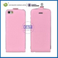 C&T Luxury new design genuine vertical flip leather case for iphone 5 5g 5s