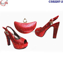 2017 Top one choice CSB2207 red shoes and bag to match