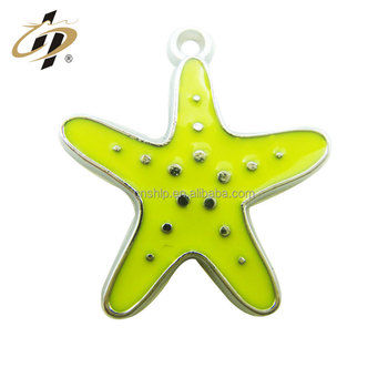Promotional custom soft enamel yellow starfish metal charms pendant