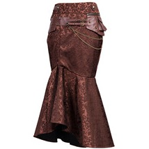 31687 Brown Geometric Jacquard Steampunk Patchwork Long Length Skirt