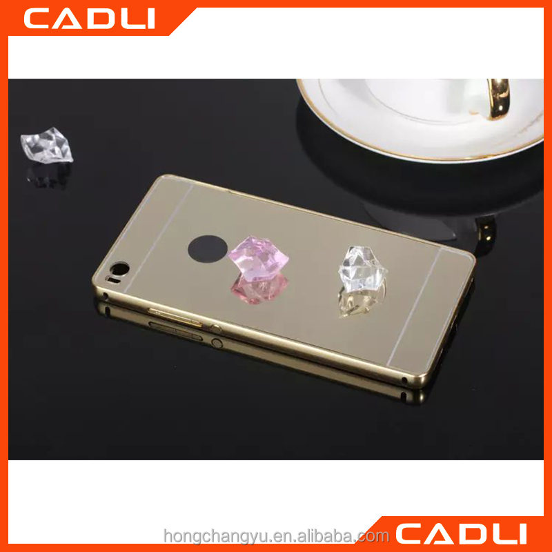 Wholesale High quality plating Aluminium Frame+Mirror back cover phone case for HUAWEI P8